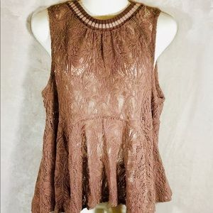 Free People All-Star Dusky Mauve Lace Top, Med
